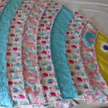 Child's Rag Quilt, Rag Quilt, Hedgehog Quilt, Child's Throw, Wall Hanging, Throw Rug, Girl Throw