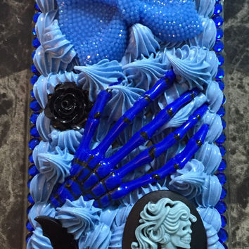 Blue on Blue Whip Victorian Goth Cameo Skeleton Hand Whip Decoden Phone Case for iPhone 6 Plus / 6s Plus Case