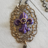 gothic necklace, fleur de lis, cross, Victorian style, steampunk, lace like medallion, adjustable, angel, semi - precious amethyst stone