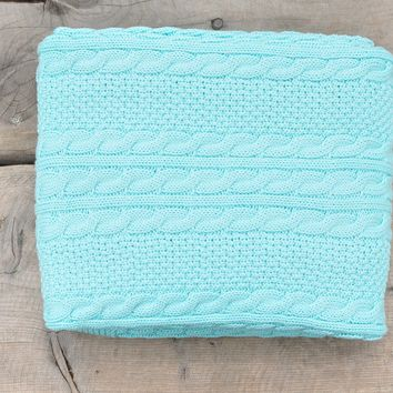 Cable Mix - Light Blue - Baby Blanket  - 100% Cotton