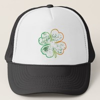 White, Orange and Green Grungy Four-Leaf Clover Trucker Hat