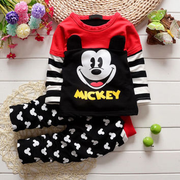 2016 New Unisex Clothing Sets Baby Kids Clothes Children Clothing Full Sleeve T Shirt Black Legging , 2pc Set