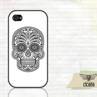 iPhone 4 Case - White Sugar Skull iPhone 4S Cover (0077)