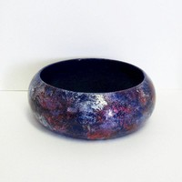 Wooden Bangle BraceletLargeCosmos Shimmer by paintingfromtheheart
