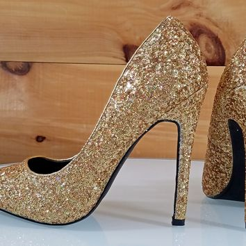 "Gold Multi Glitter Pointy Toe Pump 4.5"" High Heel Shoes"