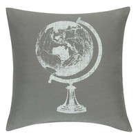 KAS Designs 'Globe Trotter' Print Accent Pillow - Grey