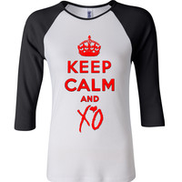 keep calm and xo 3/4 Sleeve Baseball Ladies Jersey