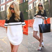 Color Block Short Sleeve Mini Dress