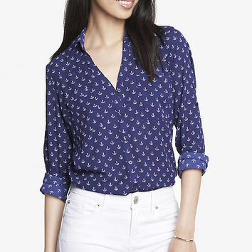 ANCHOR PRINT CONVERTIBLE SLEEVE PORTOFINO SHIRT from EXPRESS