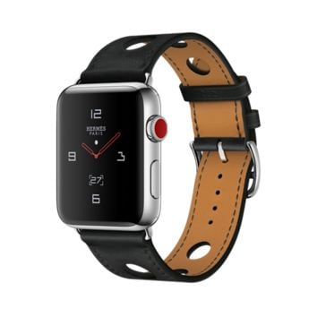 Apple Watch Hermès GPS + Cellular, 42mm Stainless Steel Case with Noir Gala Leather Single Tour Rallye