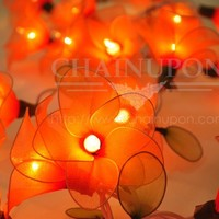 ORANGE FLOWER STRING PARTY,PATIO,FAIRY,DECOR,HOME,OFFICE,BEDROOM WEDDING LIGHTS
