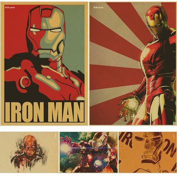 IRON MAN Marvel Comics retro Movie Kraft Paper Poster vintage Wall Sticker Painting Antique Home decor for bar cafe pub