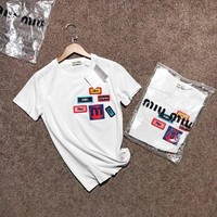 """Miu Miu"" Women All-match Casual Fashion Multicolor Beaded Letter Badge Embroidery Short Sleeve T-shirt Top Tee"