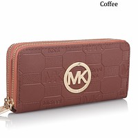 MK 2018 new men's and women's clutch bag multi-card position coin purse double zipper wallet F0594-1 coffee
