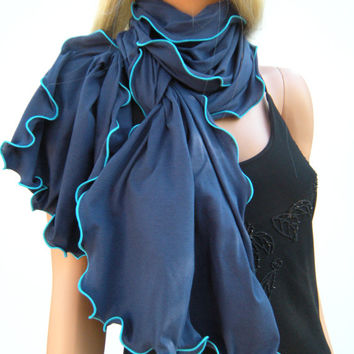 Navy Cotton Neck Rag with Sea Blue trimming  Ruffle Scarf  Navy cotton  Navy  Jersey Ruffled Scarf    Fall  Winter  Fashion