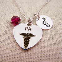 Physicians Assistant  Necklace -  Swarovski Birthstone - Custom Initial - Personalized Sterling Silver Necklace / Gift for Her