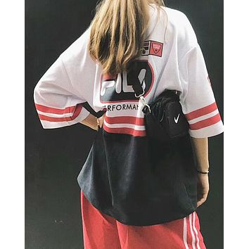 FILA Fashion Women Men Loose Print Color Matching T-Shirt Top I-AA-XDD