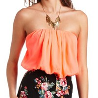 Strapless Bubble Crop Top by Charlotte Russe - Bright Pink