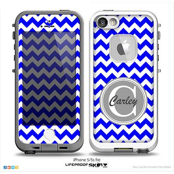 The Royal Blue & White Chevron Monogram Name Script Skin Gray v1 Skin for the iPhone 5-5s Fre LifeProof Case