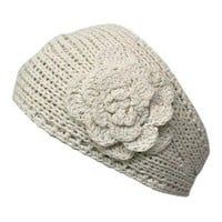 Luxury Divas Ivory Hand Made Knit Headband With Flower Detail