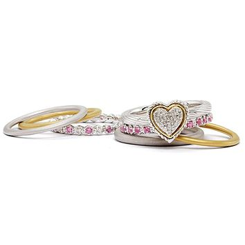 Sterling Silver & 14K Gold Plated Diamond Love Embrace Stack Ring Set