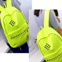 Punk Style Rivet Fluorescent Color Backpack from styleonline