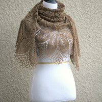 Knit shawl, lace wrap in beige color, gift for her