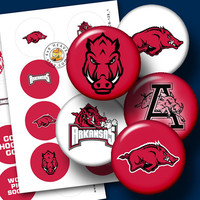 "Arkansas Razorbacks Sport Logos Ditigal Collage SheetS - 1.313"" circles Printable Digital Download for Buttons, Bottle Caps, Crafts CB-128"