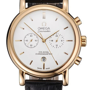 Omega Seamaster Vintage Chronograph White Dial Gold Case Black Leather Strap