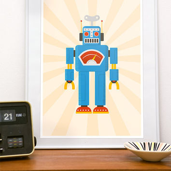 Nursery decor, nursery print, retro robot print, art for nursery, kids room art, art for kids, toy illustration Retrobot 1
