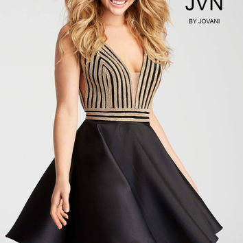 Jovani JVN54475 Sparkling Vertical Embellished Dress with Deep Sweetheart Neckline