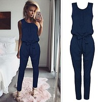 Women Skinny Lace Up Sleeveless Summer Jumpsuits Casual Rompers Slim Sexy High Waist Jumpsuit for Female Women Spring Summer