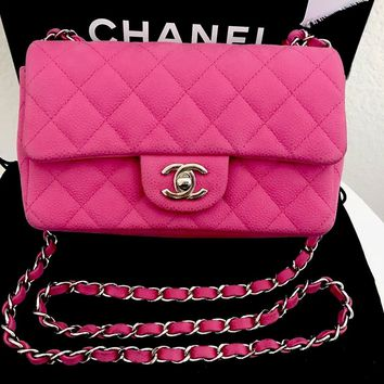 Authentic Chanel Quilted Matte Caviar Pink Rectangular Mini Flap Crossbody Bag