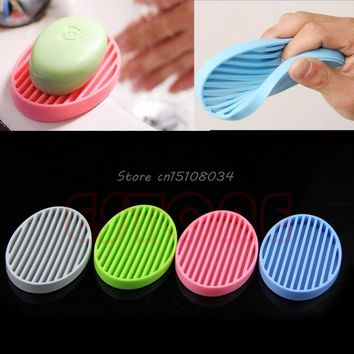 Fashion Silicone Flexible Soap Dish Plate Bathroom Soap Holder S08