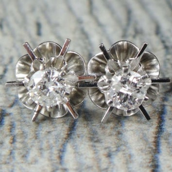 Vintage 14k Gold Diamond Earrings Diamond Post Earrings Bridal Earrings Diamond Stud Earrings Modern Buttercup Style