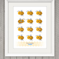 Dare to BEE NERDY, 8.5x 11 Poster Print, Original Illustration, Wall Art, Home Decor, Words to live by, Typography Affirmation Poster