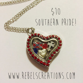 Rebel Flag Confederate Southern Mississippi America USA Floating Charm Necklace