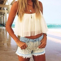 2015 Spring Summer Outfit - White Flowy Crop Top - Lace Shorts CHIFFON Hollow Yarn Shirt Crop TOP CS4203