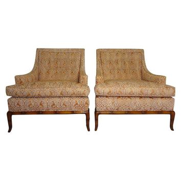 Pre-owned Widdicomb Faux Bamboo Lounge Chairs - A Pair