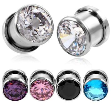 ac PEAPO2Q 2PCS Steel Crystal Zircon Plug Tunnel Earring Plugs Expanders Gauges Screw Flesh Plugs and Tunnels Earring Body Jewelry