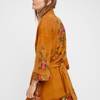 Free People Floral Suede Kimono Jacket