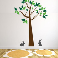 Kid's Room Tree Decal with Bunnies