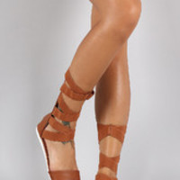 Women's Bamboo Strappy Gladiator Mid Calf Flat Sandal