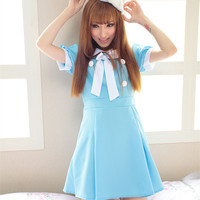 Cosplay K-ON Blue Uniform Fuku Dress SP141202