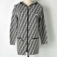 FENDI Autumn Winter Newest Popular Women Casual Double F Letter Hooded Zipper Cardigan Jacket Coat White