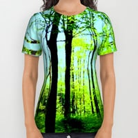 Sky Blue Morning Forest All Over Print Shirt by Zurine