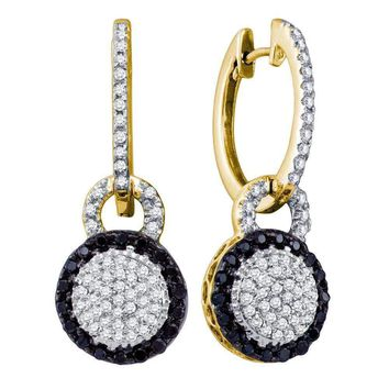 10kt Yellow Gold Women's Round Black Color Enhanced Diamond Framed Cluster Dangle Earrings 1-2 Cttw - FREE Shipping (US/CAN)