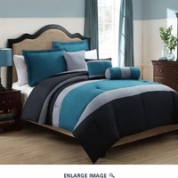10 Piece Queen Tranquil Teal and Gray Bed in a Bag Set