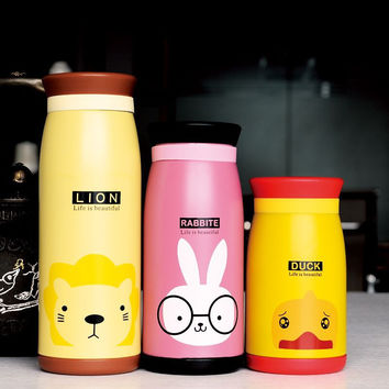 Cute Animal Thermo Mug Vacuum Cup Stainless Steel Bottle Thermal Thermos Bottle Insulated Tumbler Travel Thermocup Coffee Mugs