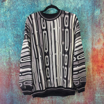 90s Chunky Knit Sweater Vintage Textured Crewneck Biggie Cosby Style Grunge Boyfriend Jumper Pullover Black White Dad Hip Hop Protege XL